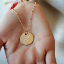 Large flat gold-plated medal with beaded chain necklace engraved with your astrological sign