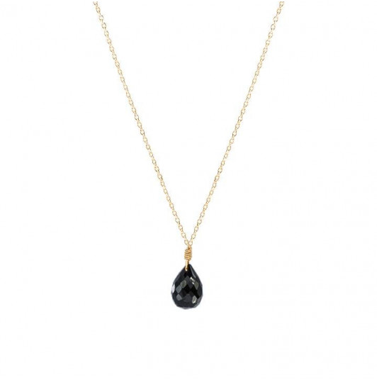 Chain necklace with drop gemstone