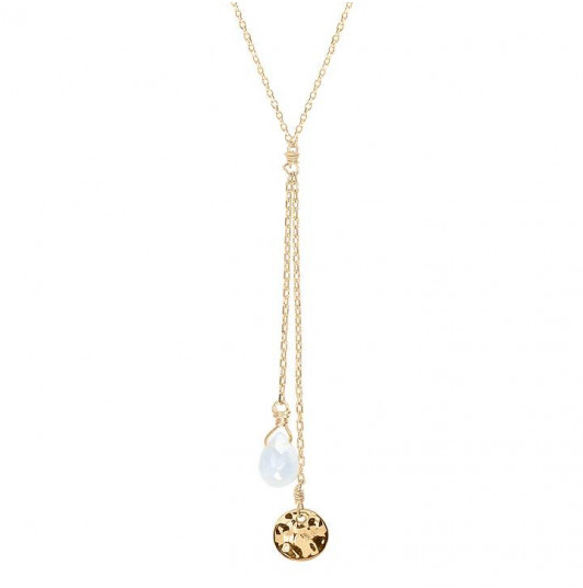 Double chain necklace with hammered medal & gemstone
