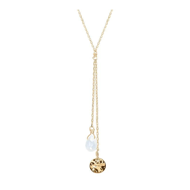 Double hanging chain necklace with hammered medal & drop