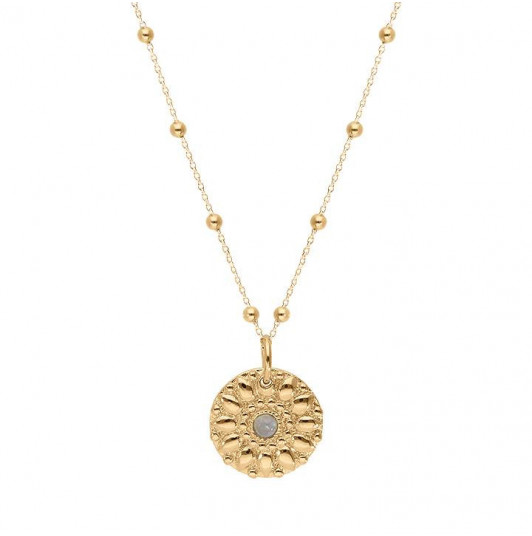 Rosae medal beaded chain necklace