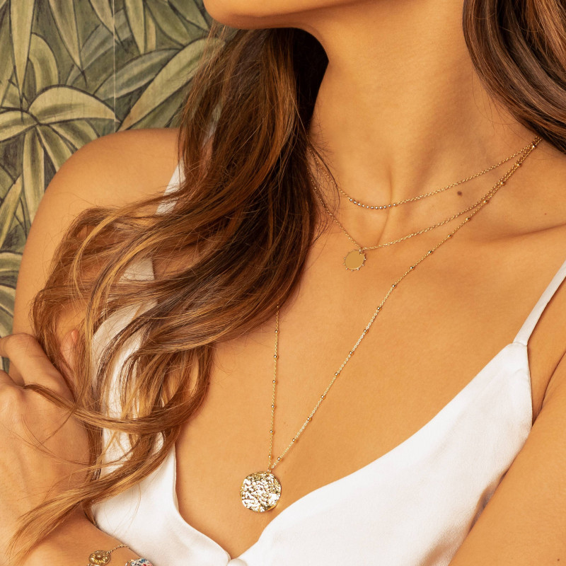 Gold-plated Atlas medal beaded chain necklace