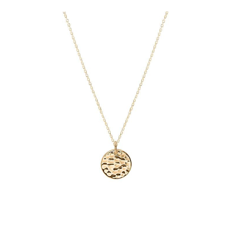 Chain necklace with mini hammered medal