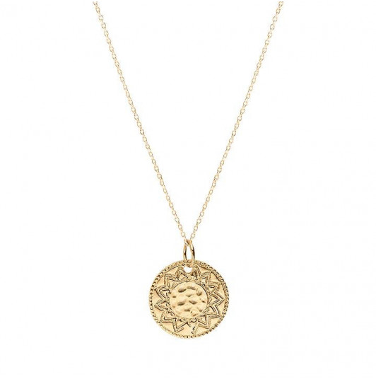 Engraved solar medal chain necklace