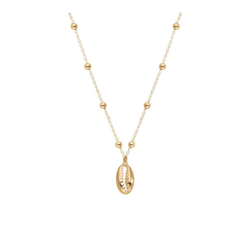 Gold-plated chain necklace & cowrie shell
