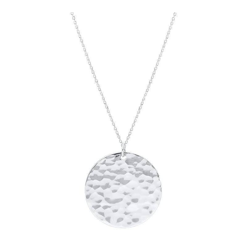 925 silver long chain necklace with large hammered medal