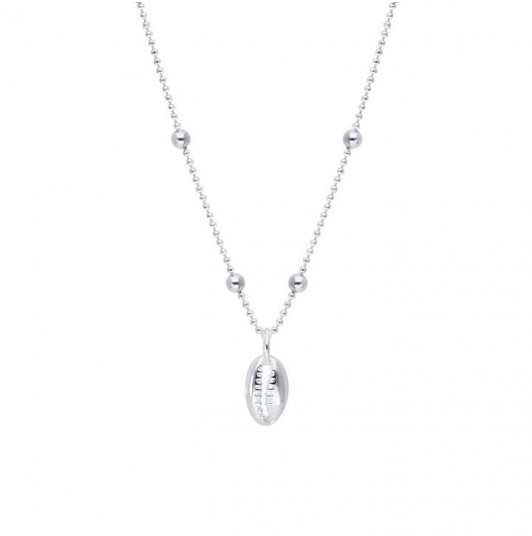 925 Silver cowrie shell chain necklace