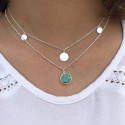 925 Silver beaded chain necklace with Moonstone medal