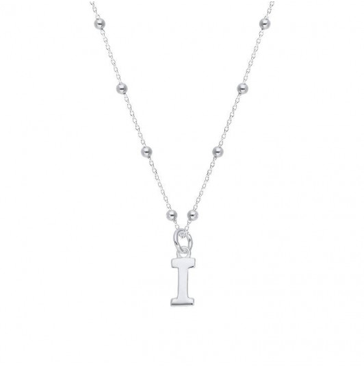Beaded chain necklace with letter charm