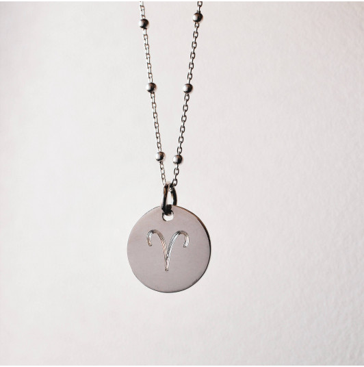 Large flat 925 silver medal with beaded chain necklace engraved with your astrological sign