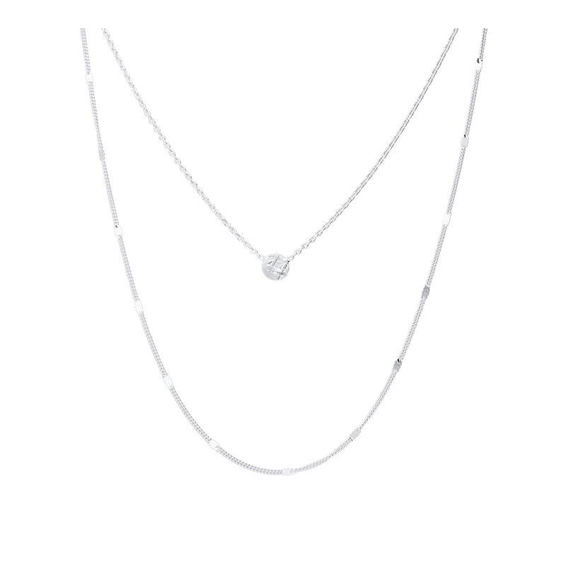 925 silver two-row chain necklace & medal