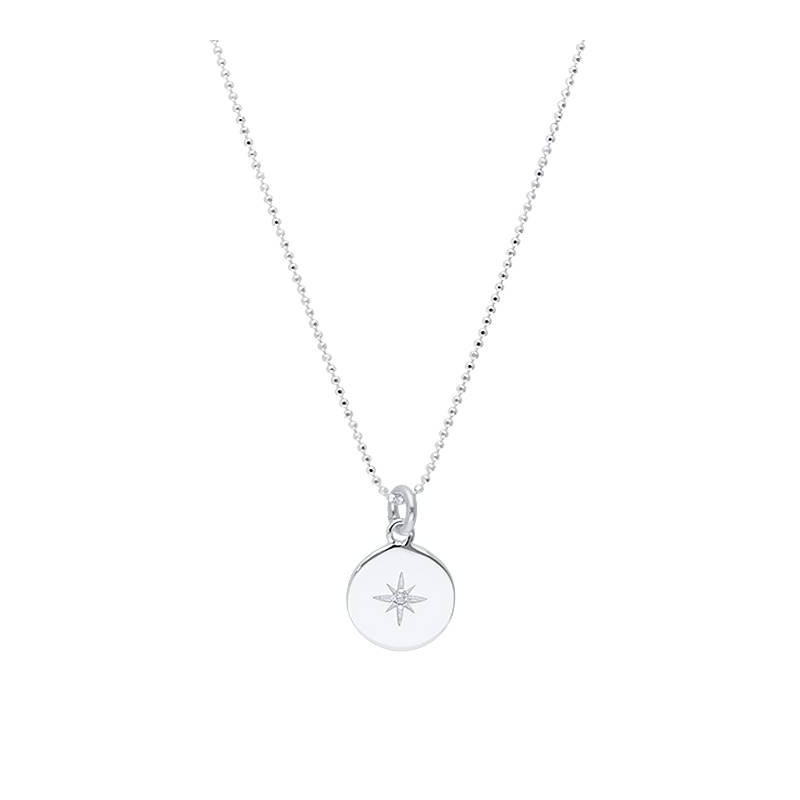 925 Silver zircon star faceted chain necklace