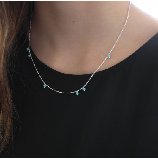 925 Silver chain necklace with turquoise beads