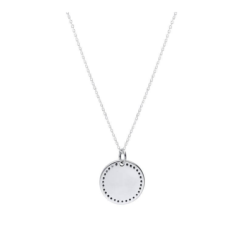 925 Silver small dotted medal chain necklace