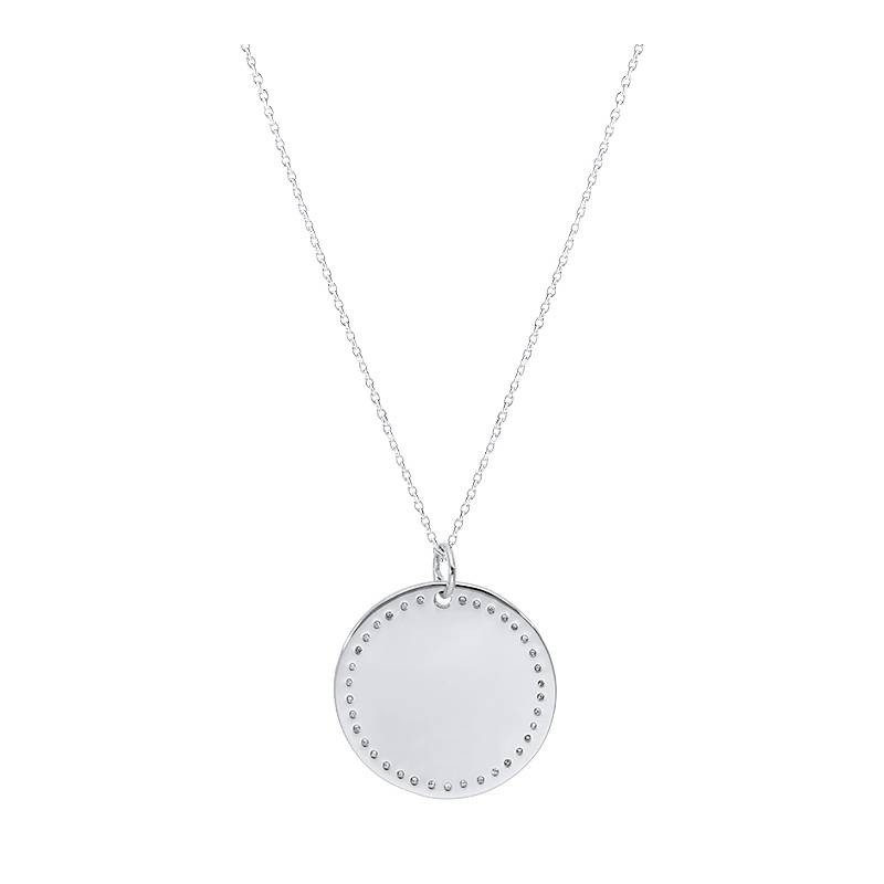 925 Silver dotted medal chain necklace