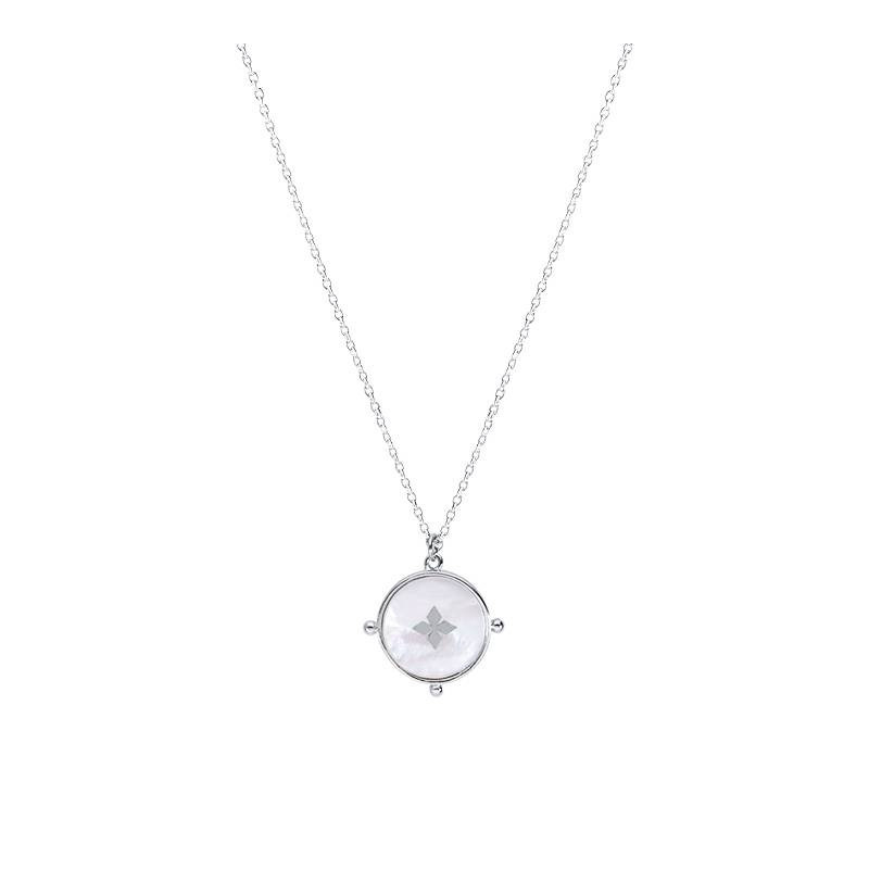Nacre & cross 925 silver chain necklace