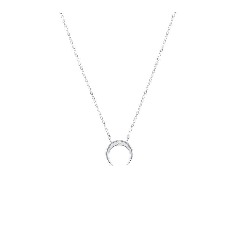 925 Silver thin horn chain necklace