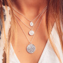 925 Silver necklace with hammered medal - L'Atelier d'Amaya