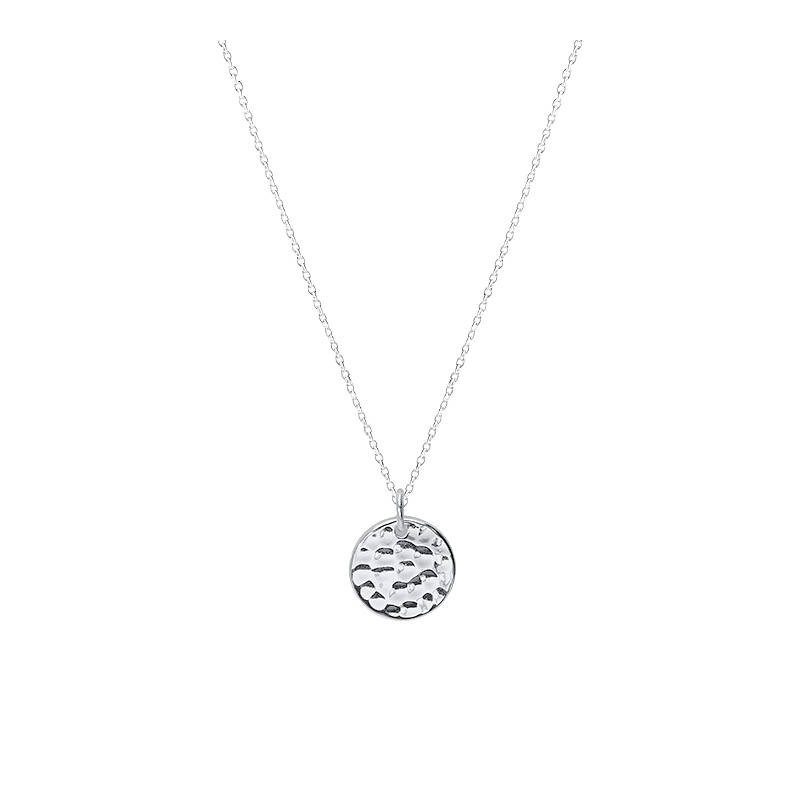 925 Silver chain necklace with mini hammered medal