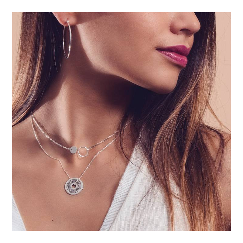 Circle & medal chain necklace