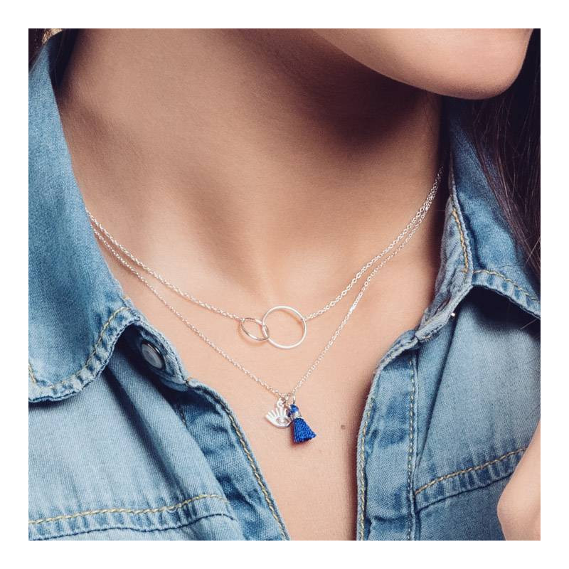 Eye chain necklace with blue pompom