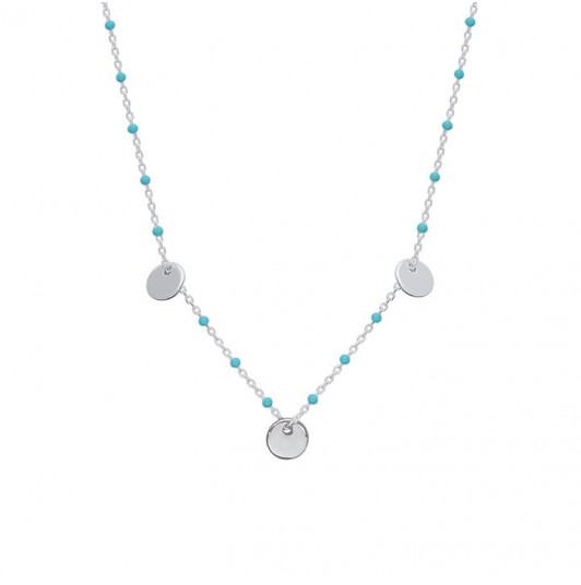 Turquoise beads necklace with 3 circles