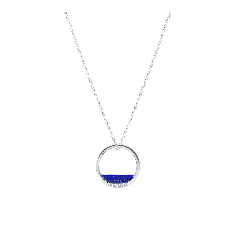 Lapis-lazuli and zircons circle chain necklace