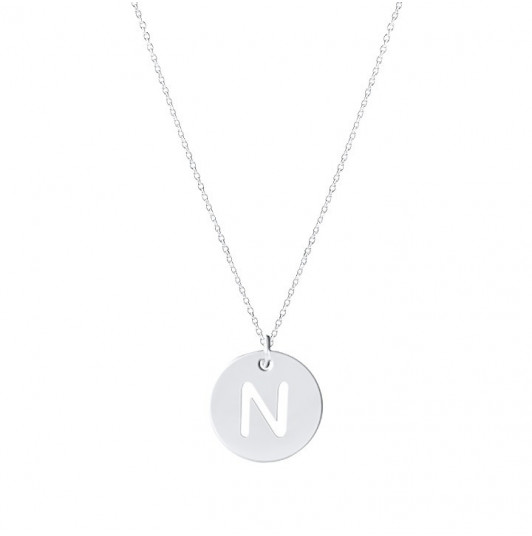 Silver chain necklace with perforated initial letter for children