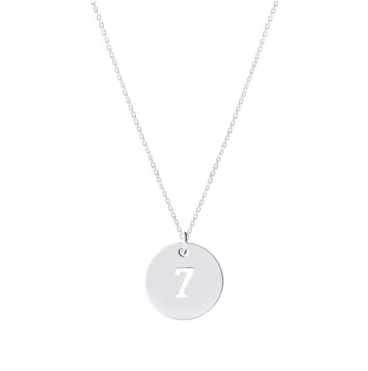 Chain necklace with perforated number medal for children