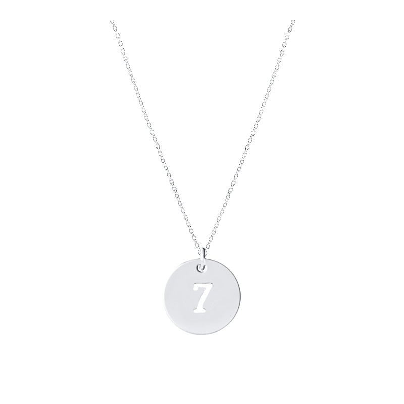 Chain necklace with perforated number medal