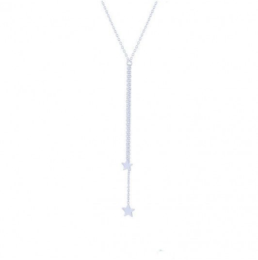 Double hanging chain with stars necklace