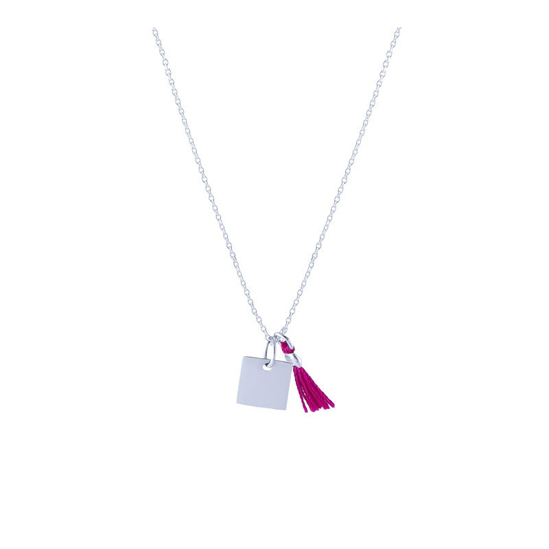 Chain necklace small square medal and pompom