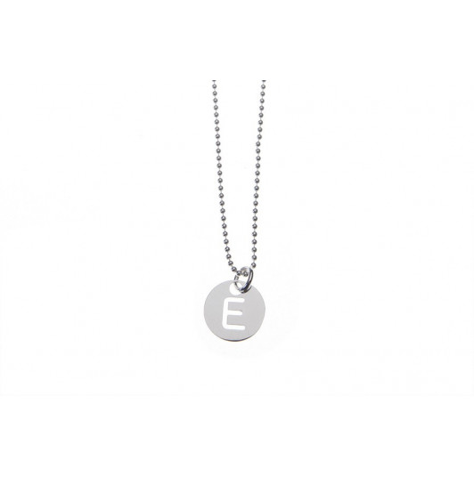 Necklace with perforated initial letter medal