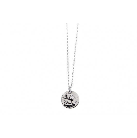 Silver chain necklace with angel charm