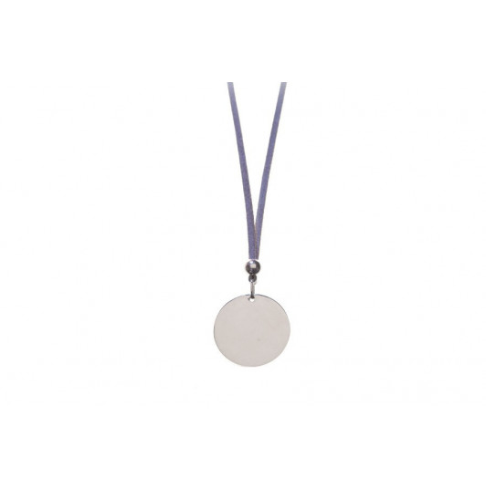 Suede necklace with silver medal