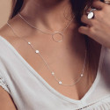 Silver chain necklace with ring