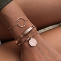 Half bangle and chain bracelet with hammered medal