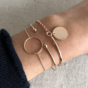 Rose gold-plated chain bracelet with small ring