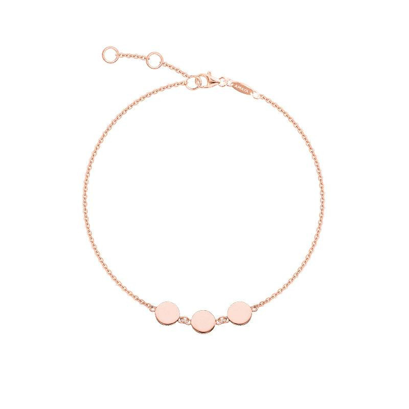 Rose gold-plated bracelet with 3 medals