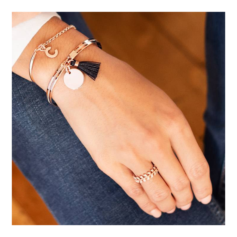 Half bangle and chain bracelet with a letter charm