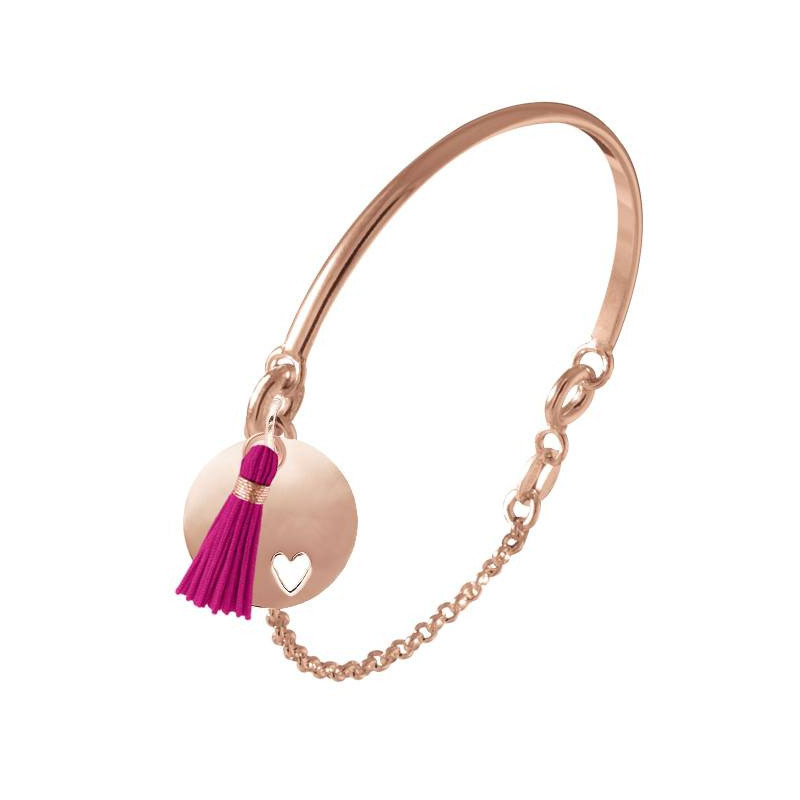 Half bangle and chain bracelet with heart medal & pompom