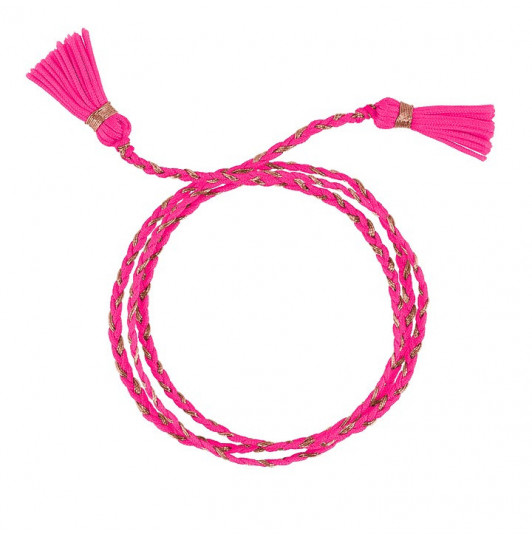 FLUO PINK TRIPLE BAIDRED TIE BRACELET WITH POMPOMS