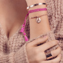 PINK TRIPLE BRAIDED TIE BRACELET WITH POMPOMS