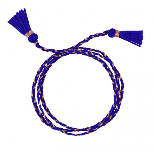 Electric blue triple braided tie bracelet with pompoms