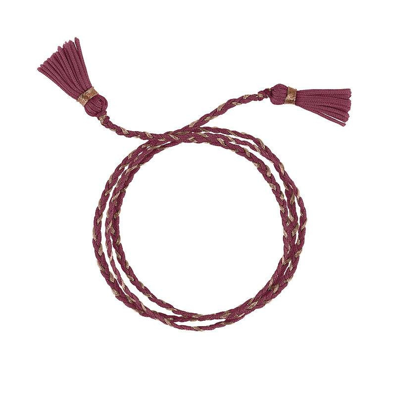 Rose gold-plated rosewood triple braided tie bracelet with pompoms