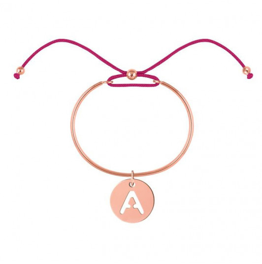 Tie bangle bracelet with perforated initial letter for children
