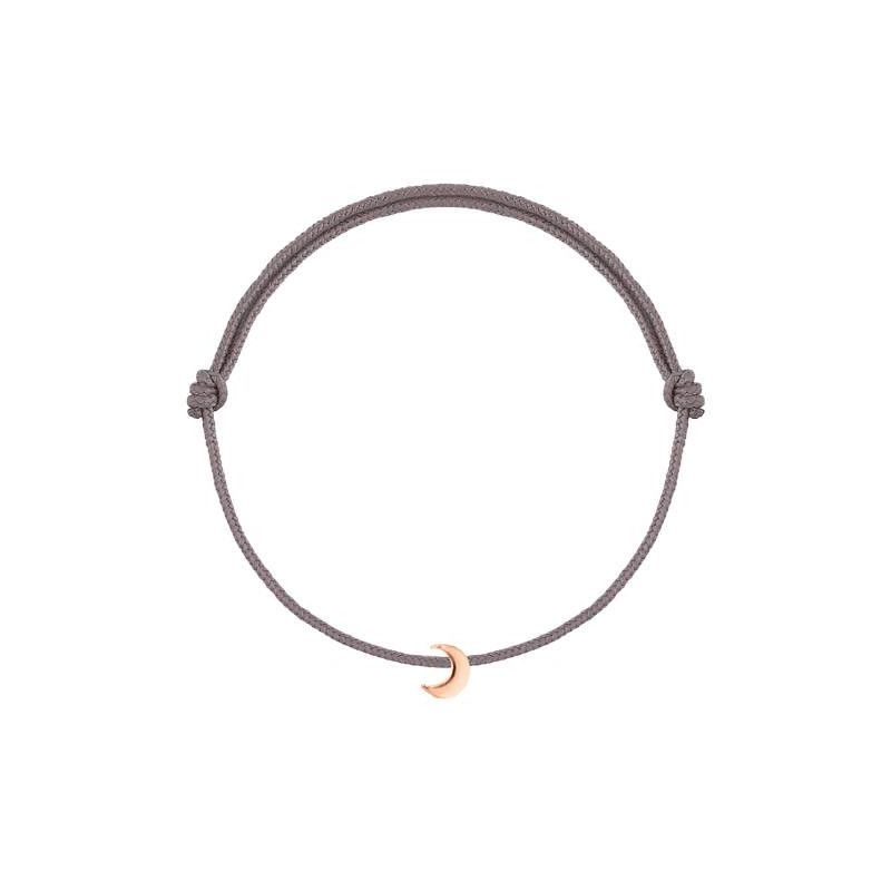 Tie bracelet with rose gold-plated little moon