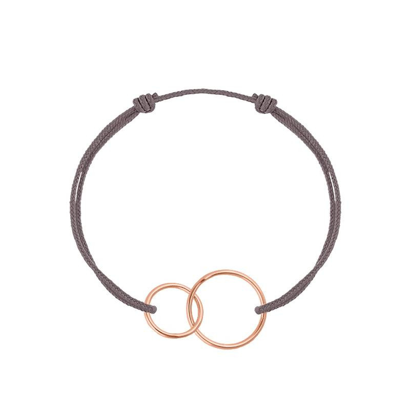 Rose gold-plated thin interlaced rings tie bracelet