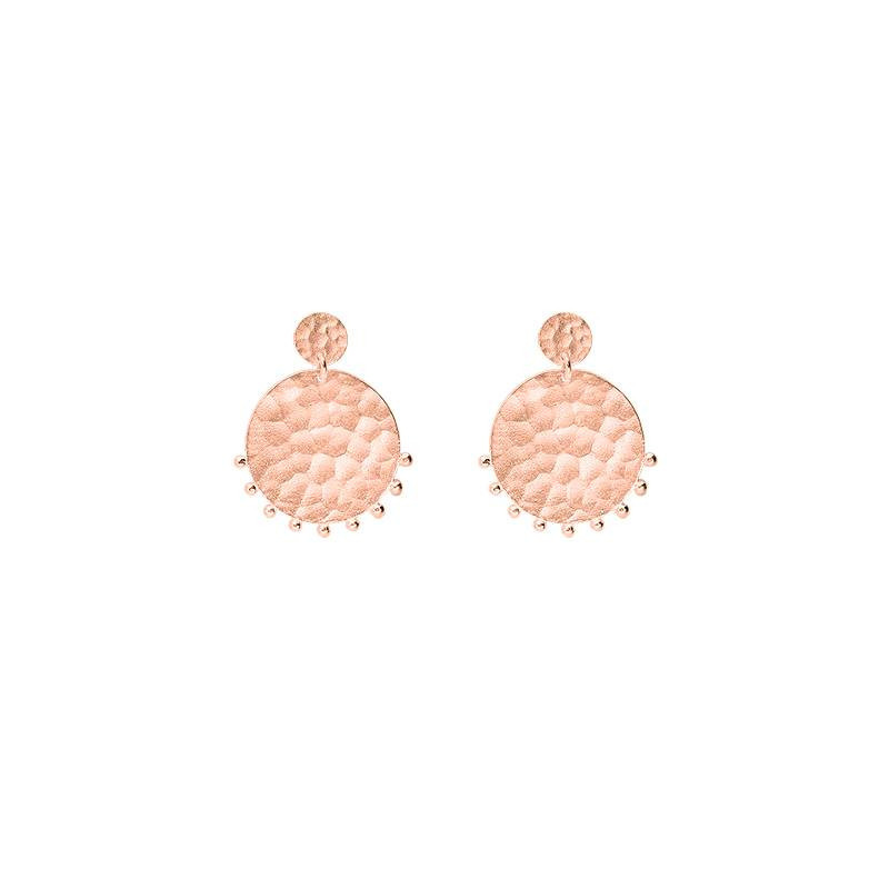 Hammered rose gold-plated comet earrings