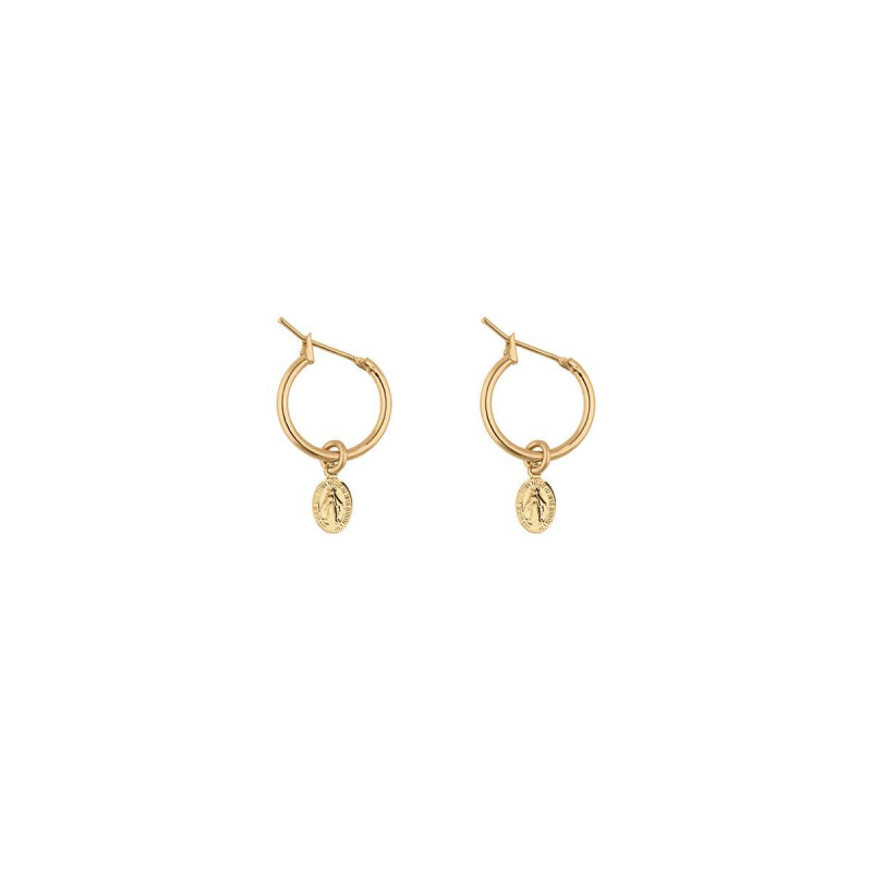 Gold-plated hoop earrings with Madone medallion
